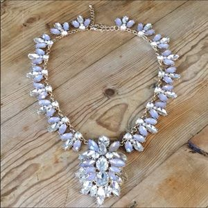 Large Gold & Clear Rhinestone Statement Necklace